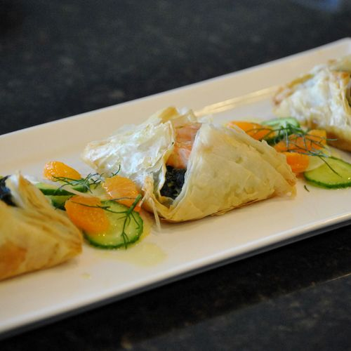 Salmon Florentine in filo, with a mandarin orange, cucumber and fennel salad with lemon vinaigrette.
