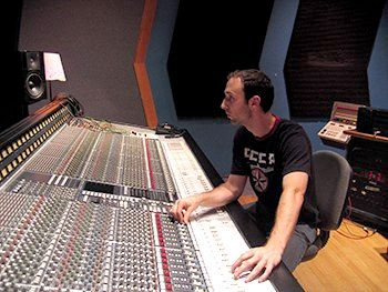 Mixing music at a local studio.
