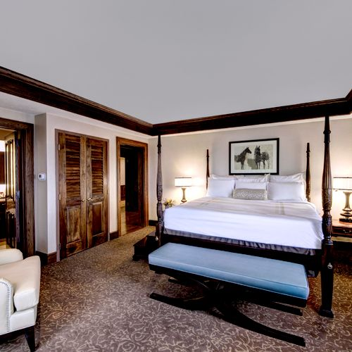 Traditional design with a contemporary feel in this bedroom