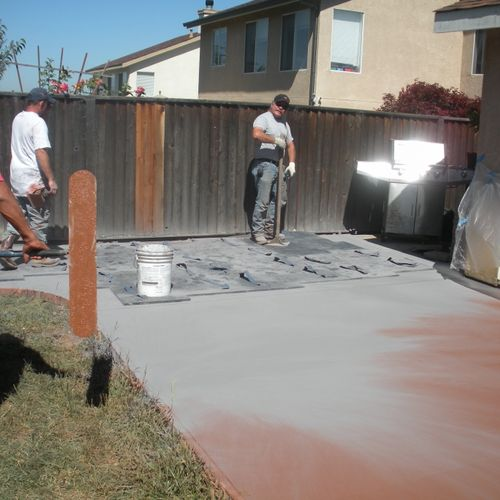 installing colored stap concrete in bach patio
