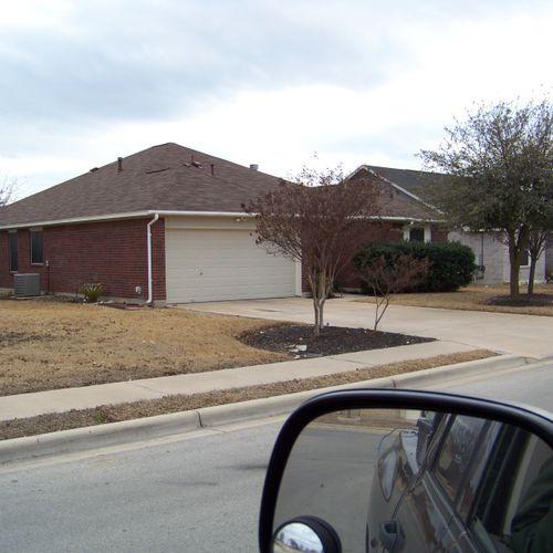 Leander, Tx ---       Installed new roof. GAF 25 year shingles. Color- Ash Brown Blend