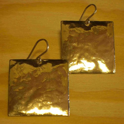 Large Square Hammered Sterling Silver Earrings