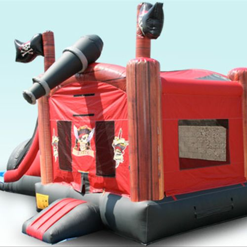 Pirate Combo Bounce House w/Dual Lane Water Slide, Pool. Climbing wall, and Baskeball goal