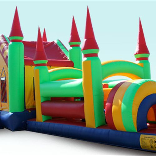 Rainbow Combo Bounce House w/Dual Lane Water Slide, Obstacle Course, Climbing wall, Basketball goal, and Pool