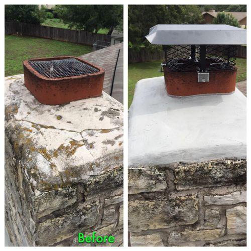 Masonry crown repair and chimney cap installed