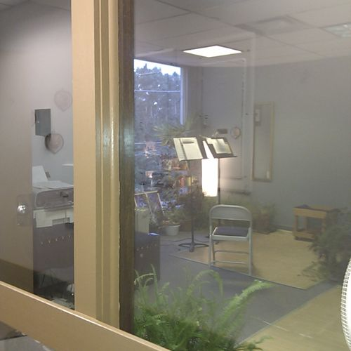 Looking into the True Note Studio from the hallway