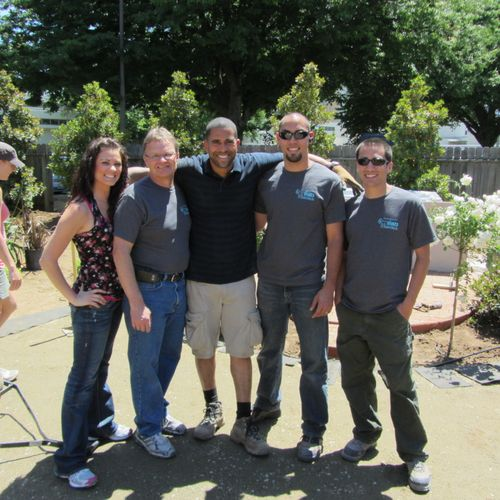 Stokes Granite on site filming for Yard Crashers episode 612