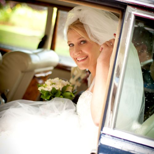Beautiful bride on her way to the chapel in Kildare, Ireland.