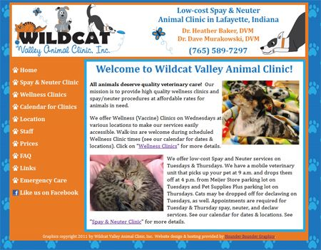 Website http://wildcatvet.com that I created and host for my veterinarian.