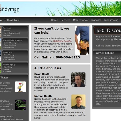 Handyman Guys home web page designed by Digital Design Studio