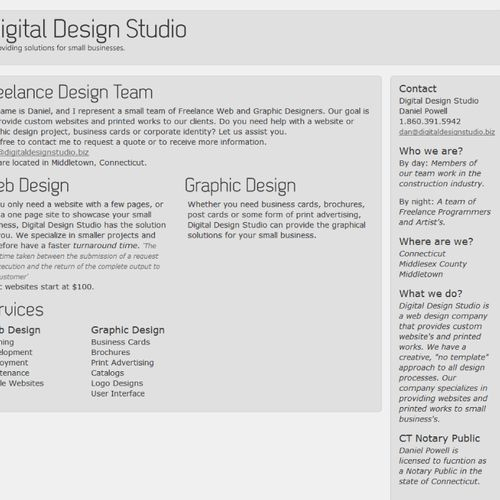 Digital Design Studio's Home web page