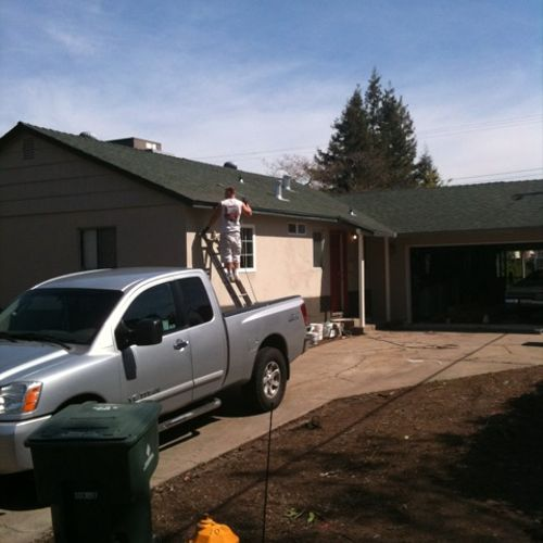 Preparation is the most important factor when painting. House painted now lets match the roof.