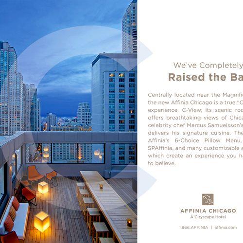 Magazine ad created for Affinia Chicago