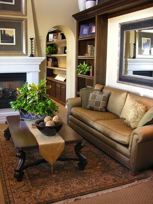 Bookcases in family room
