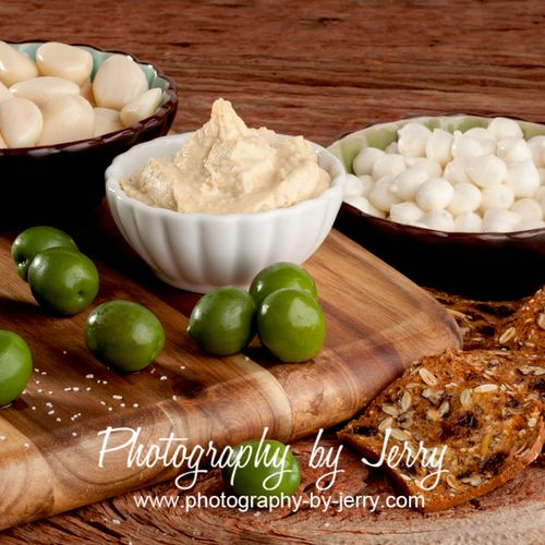 Olives, Garlic, Cheese and Humus