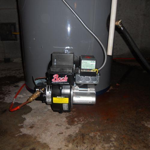 Bock oil fired burner.