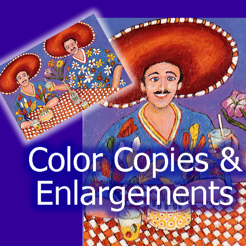 We offer black and white or color copies. We have five copiers and offer high-speed including feeders and finishing (stapling, 3-hole punch, etc.)