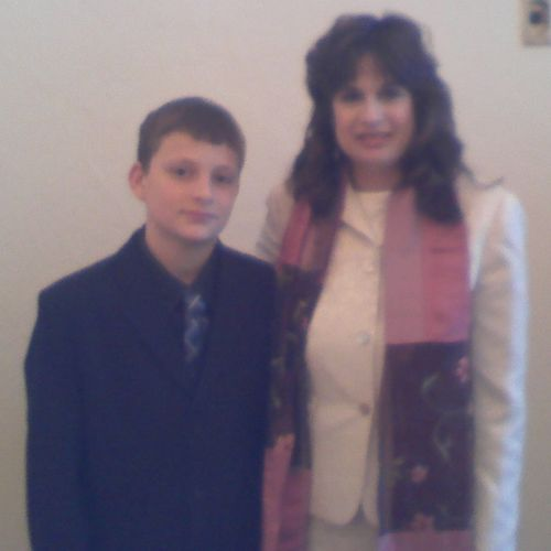 Cantor Barbra with a Bar Mitzvah student