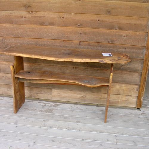 Free form white oak slabs with linseed oil.  outside side board, table