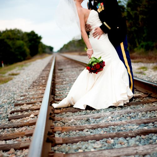 A quick trip to the railroad tracks for this Orlando, Fl wedding. Definitely worth the shot!