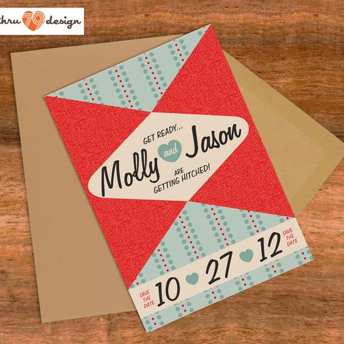 50's kitch save the date or invitation