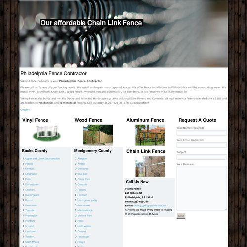 Philadelphia Fence Contractor Wordpress/Search Engine Optimization