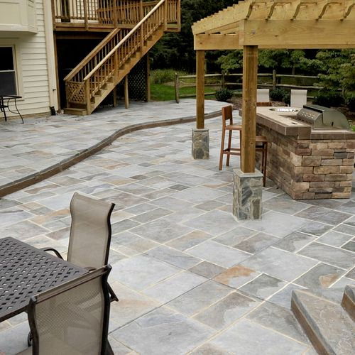 Multi-color, grouted stamped concrete, style of natural PA bluestone