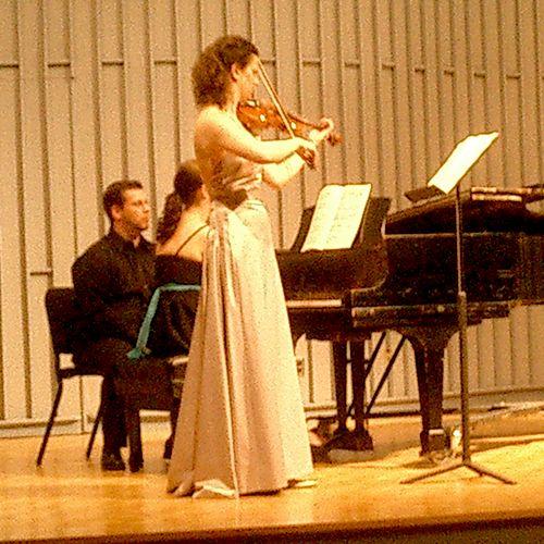Bonnie performing at her 2006 Master's violin recital