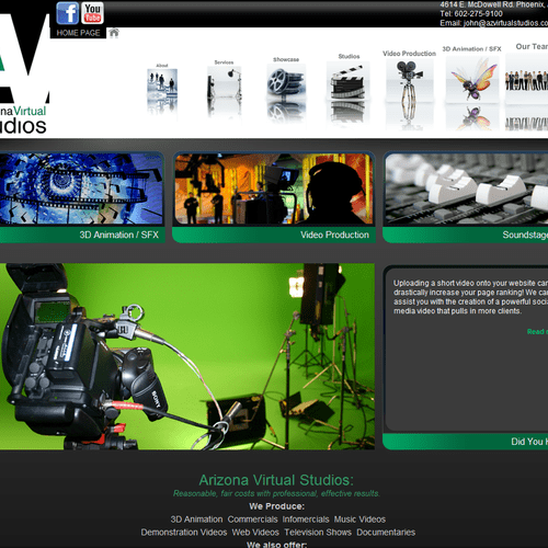 Arizona Virtual Studios website - built by Solutions 8