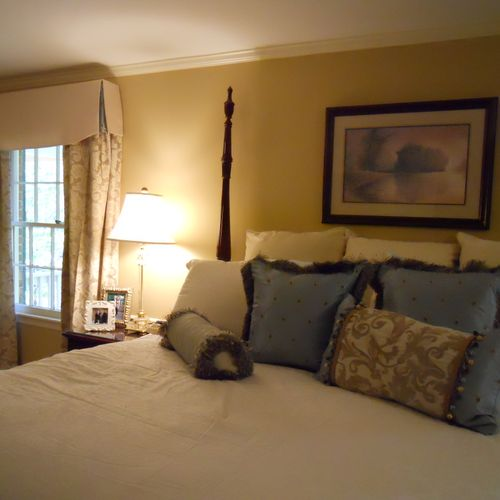 This bedroom went from Hunter green paisly from the 90's to a soft french country feel for 2012.