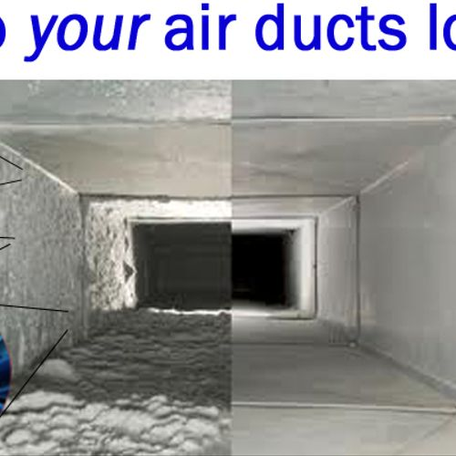Side by side visual of an air duct