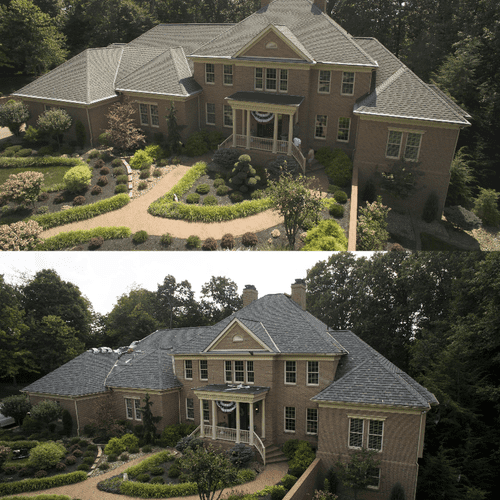 Before and After Mr. Roof Hi-Def Shingles