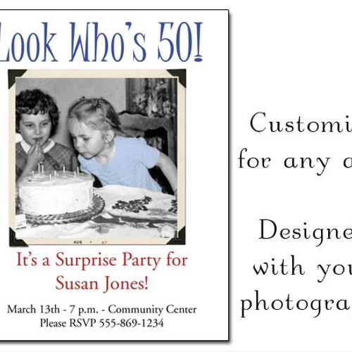Printable photo birthday invitation - 30th, 40th, 50th, 60th, 70th, 80th, 90th