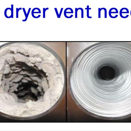 Side by side visual of a dryer vent