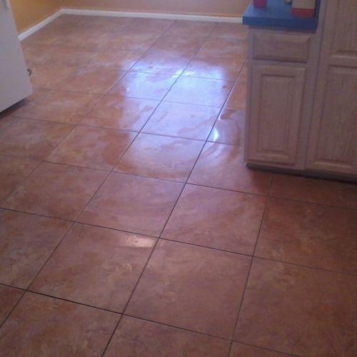 ceramic tile installation in kitchen floor
