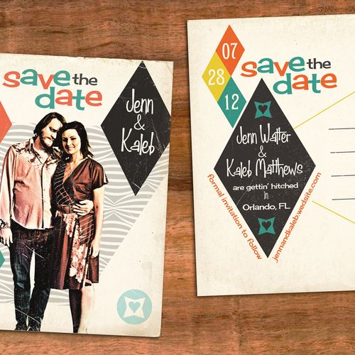 50s album cover style save the date postcard