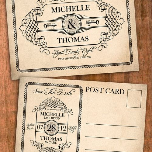 antique label style save the date postcard or invitation