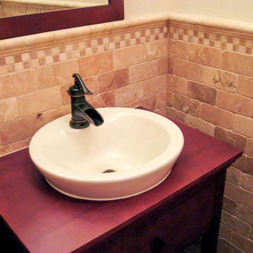 Bathroom tile, elegant travertine wainscoting