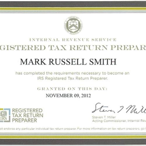 Mark Smith's Registered Tax Return Preparer Certificate