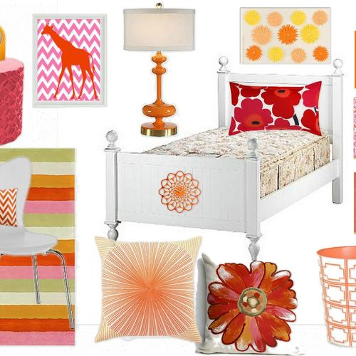 A Pink & Tangerine Inspiration Board for a Girl's Bedroom Styling Consultation.