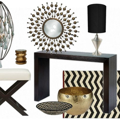 A tribal inspired Eclectic Foyer Styling Inspiration Board.