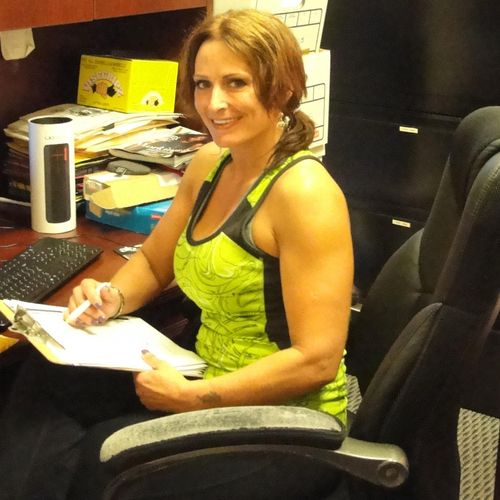 Kimberly Caso our personal trainer in her office.