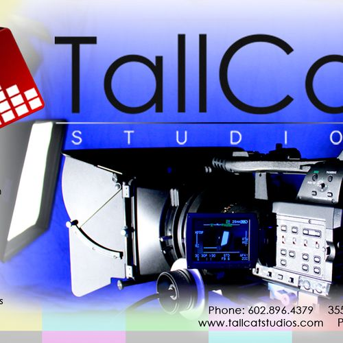 Flyer featuring some of our video gear including chroma screen, arri lights, and light-boxes.