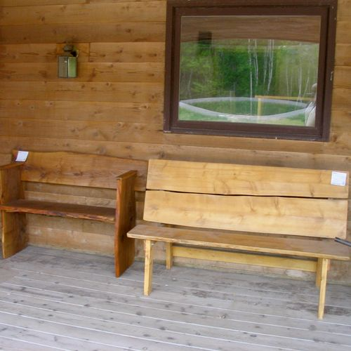 White oak garden bench, left. Cedar 1/2 picnic table, right.