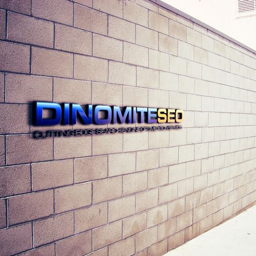 Dinomite SEO on our wall outside our office.