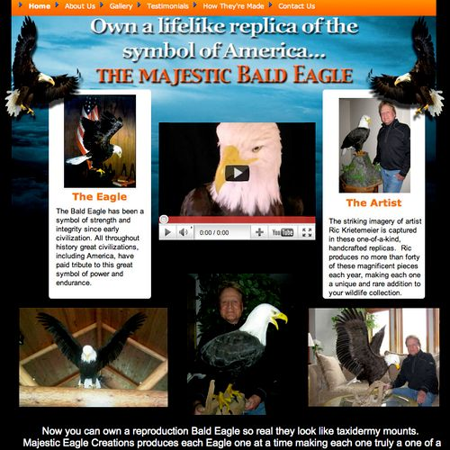 http://www.majesticeaglecreations.com Majestic Eagle Creations has a niche business creating Bald Eagle sculptures.  Jordan Web Marketing is using Google Adwords to drive traffic to the website, resulting in increased revenue for Majestic Eagle Creations.