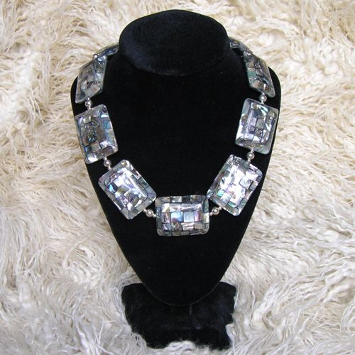 Black Lip Shell & Sterling Silver Necklace