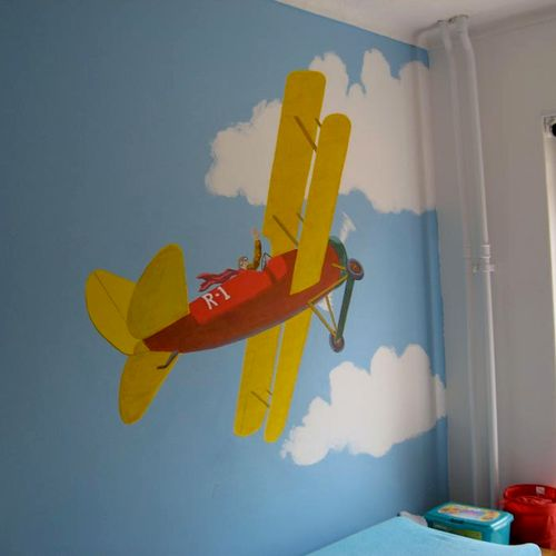 Airplane in a boys room