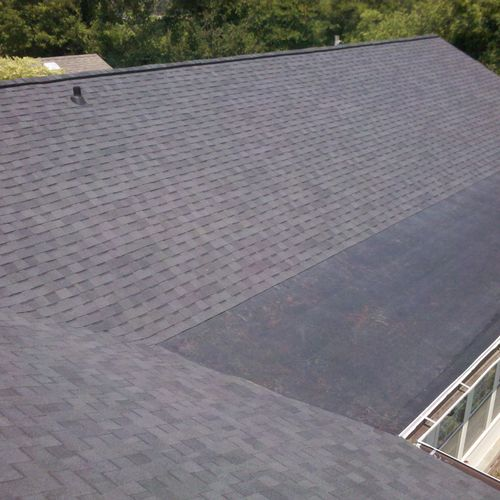 Rubber Roof on Addition with Shingles on Standard Slope Above