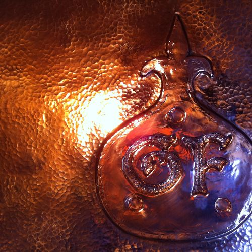 George Forge has a new shop in Little Compton Rhode Island! This is a close up of the copper forge hood.